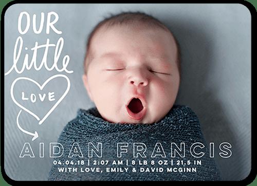 Our Little Love 5x7 Birth Announcement Card Shutterfly