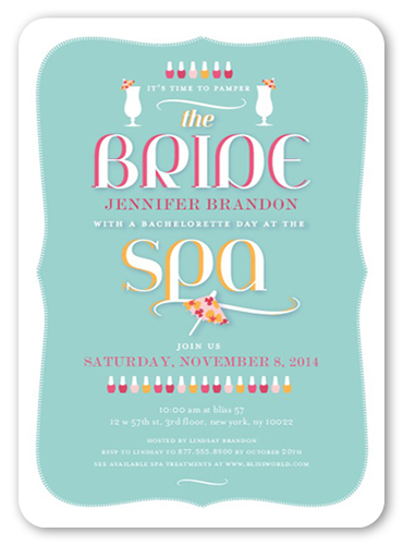 Stylish Spa Day Bachelorette Party Invitations Shutterfly