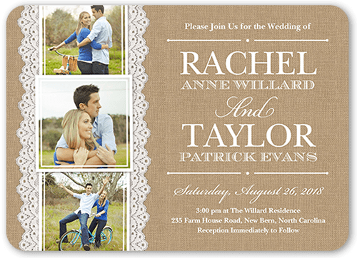 Burlap And Lace 5x7 Wedding Invitations  Shutterfly