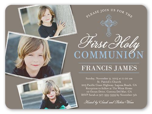 Communion Cross Boy 6x8 First Communion Invitations