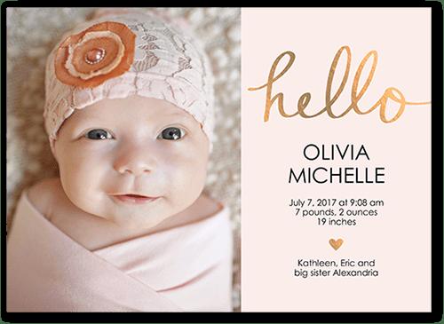 Hello Love Baby Girl 5x7 Unique Birth Announcements Tiny