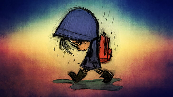 Hd Wallpaper Children Blue Sad Rain Cartoon Red One Person Full Length Wallpaper Flare