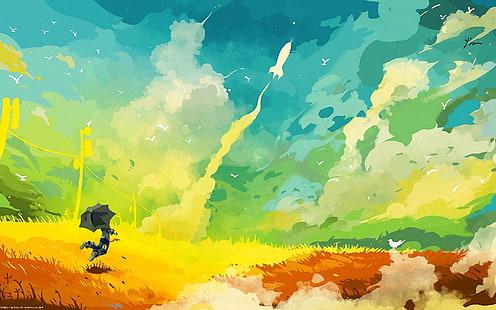 Anime Girl Umbrella City Sky Pink Wallpaper Hd Wallpaper Cartoon Angel Umbrella Rain Tale