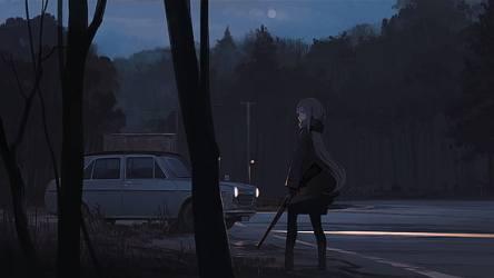 HD wallpaper: anime anime girls dark background night forest car roadside Wallpaper Flare