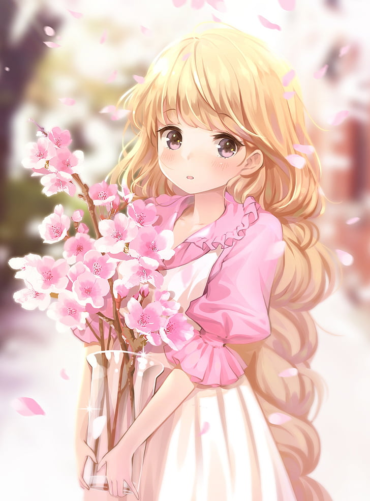 Anime Flower Girl : anime, flower, Wallpaper:, Anime,, Blonde,, Cute,, Flower,, Girl,, Hair,, Long,, Miyaza,, Original, Wallpaper, Flare