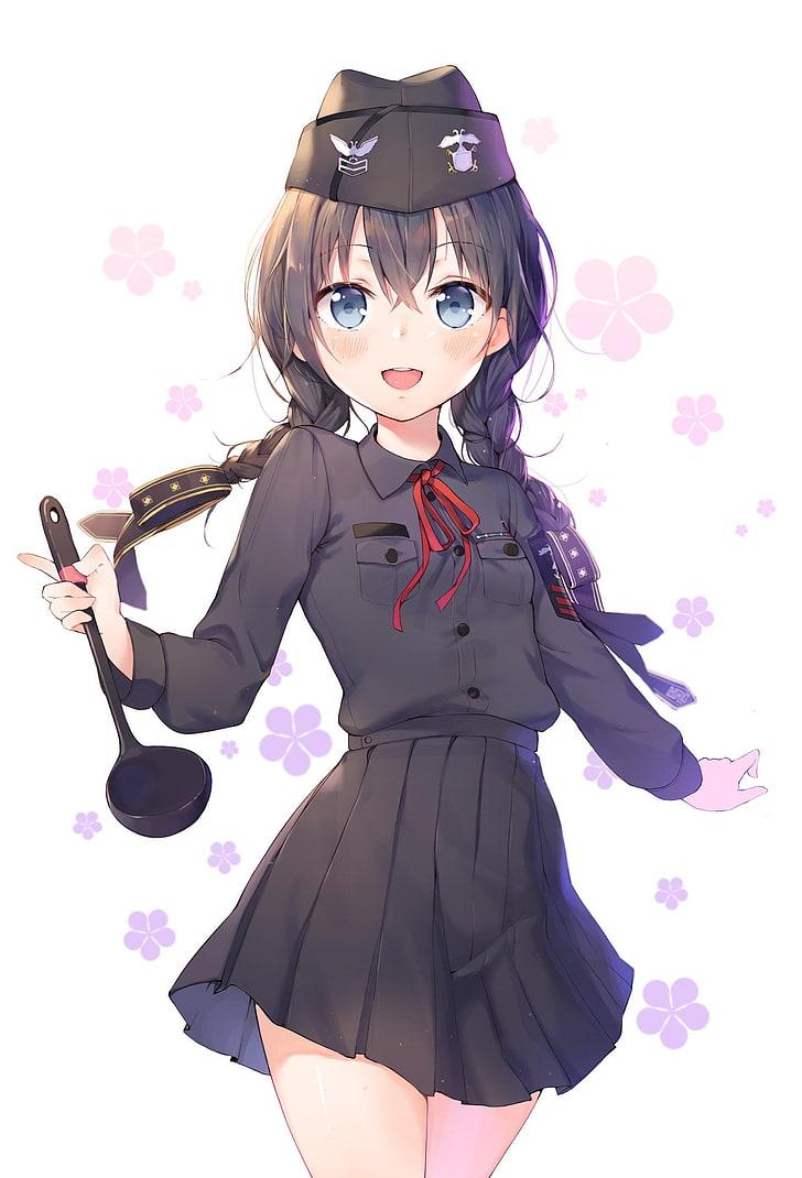 Anime Girl With Blue Eyes And Black Hair : anime, black, Wallpaper:, Anime,, Anime, Girls,, Uniform,, Skirt,, Hair,, Black, Wallpaper, Flare