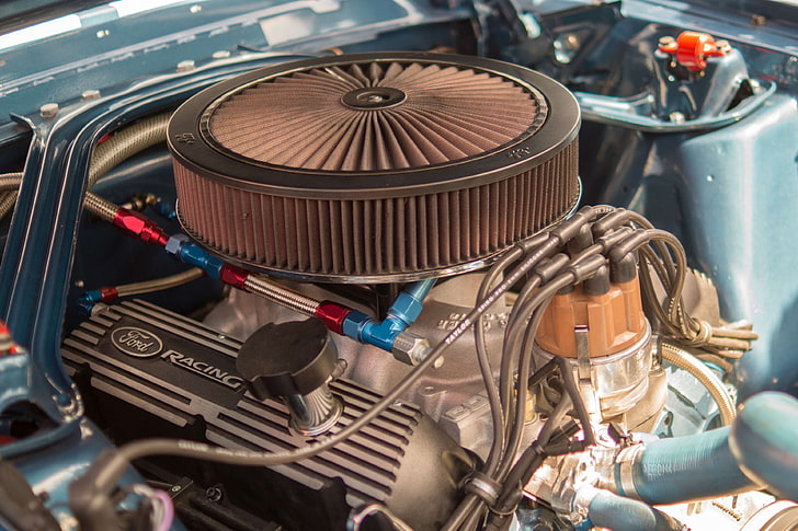 How does na engine work? Hd Wallpaper Car Engine Filter Ford Muscle Racing Turbo V8 Metal Wallpaper Flare