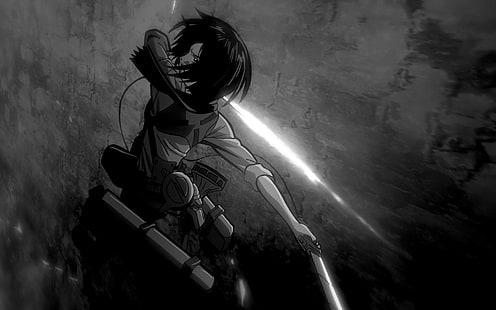 Hd Wallpaper Anime Attack On Titan Black White Mikasa Ackerman Wallpaper Flare