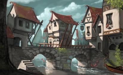 HD wallpaper: Artistic Drawing Bridge Fantasy Medieval Town Wallpaper Flare