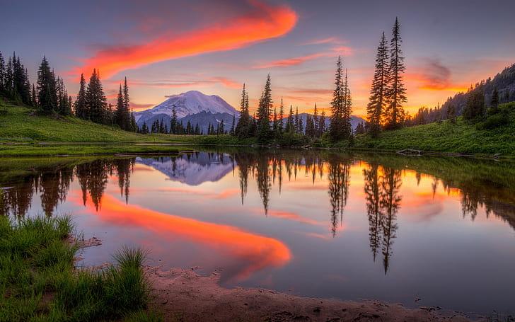 Mountains, lake, sea, sunset, dusk. Hd Wallpaper Tipsoo Lake In Washington Sunset Mountain Snow Forest Sky Water Reflection 3840 2400 Wallpaper Flare