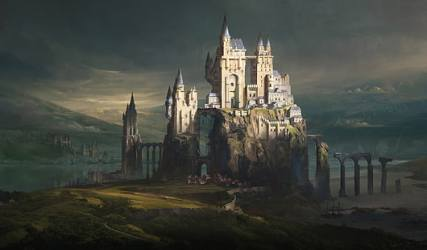HD wallpaper: artwork fantasy art castle landscape Wallpaper Flare