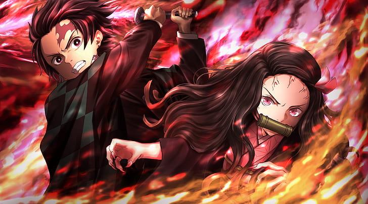 Hd Wallpaper Anime Demon Slayer Kimetsu No Yaiba Boy Girl Nezuko Kamado Wallpaper Flare