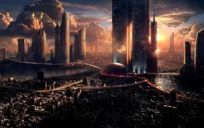 HD wallpaper: city skyline wallpaper artwork concept art fantasy art futuristic Wallpaper Flare