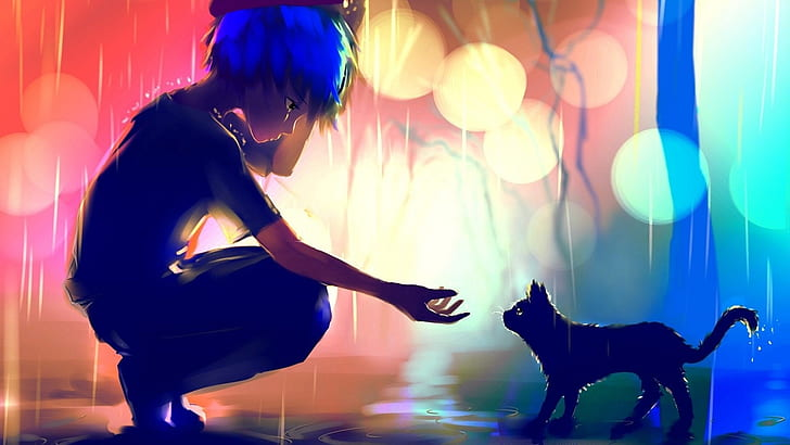 Hd Wallpaper Anime Boy Cat Raining Scenic Sad Loneliness Wallpaper Flare