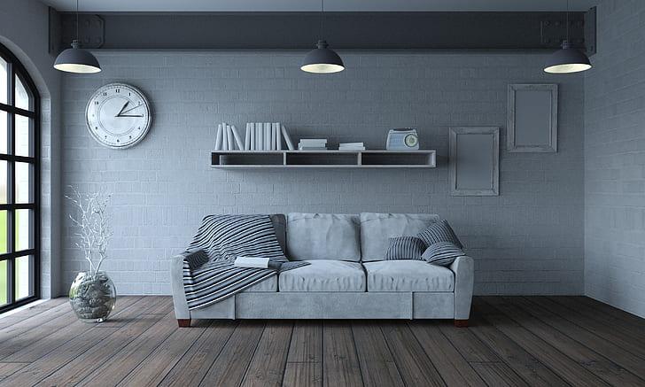 Hd Wallpaper Design Interior Pillow Living Room Sofa Book Clock Furniture Wallpaper Flare