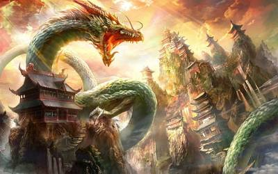 fantasy dragon wyrm wuxia chinese hd temple mountain digital wallpapers anime