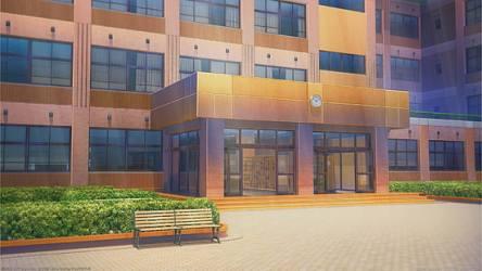 HD wallpaper: anime school doors clock scenic building architecture Wallpaper Flare