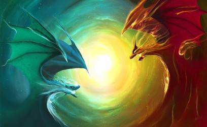 HD wallpaper: Fire Dragon Vs Water Dragon two red and green dragon wallpaper Wallpaper Flare