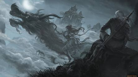 xianxia fantasy dragon chinese untitled nature moon