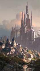 HD wallpaper: digital village castle clouds medieval fantasy art Wallpaper Flare