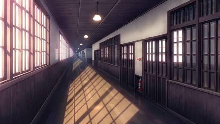hallway anime corridor window architecture door hd