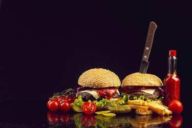 HD wallpaper: simple background food burger ketchup meat vegetables Wallpaper Flare