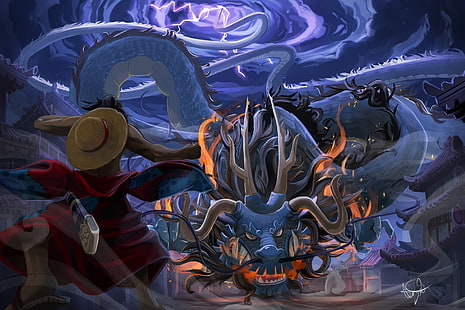 Luffy menyerang kaido dengan snakeman gear 4,. Hd Wallpaper One Piece Monkey D Luffy Kaido Gear Fourth Snakeman Dark Wallpaper Flare