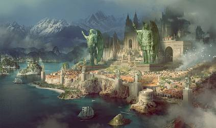 HD wallpaper: sailing ship fantasy city sea fantasy art ports Wallpaper Flare