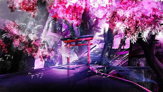 Hd Wallpaper Purple Anime Cherry Trees Shrine Landscape Wallpaper Flare
