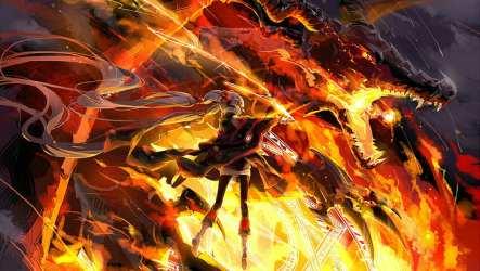 HD wallpaper: Manga Anime Girls Dragon Pixiv Fantasia fire dragon Wallpaper Flare