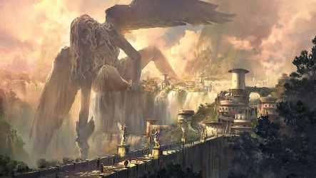 HD wallpaper: ArtStation artwork fantasy art fantasy city statue wings Wallpaper Flare