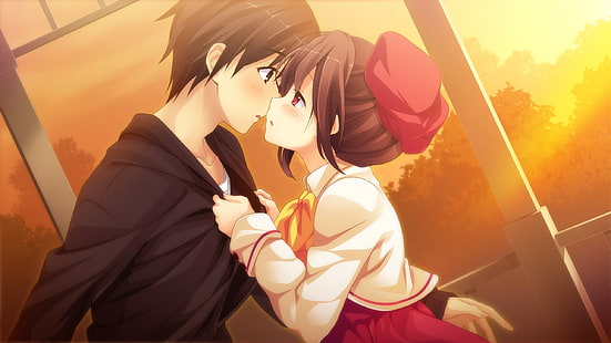 Hd Wallpaper Anime Couple Romance Sunset Wallpaper Flare