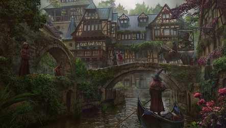HD wallpaper: artwork fantasy city town digital river bridge boat medieval Wallpaper Flare