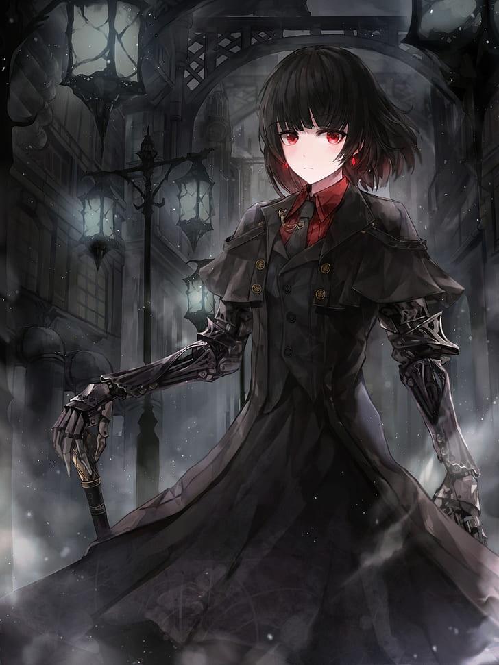 Red And Black Anime : black, anime, Wallpaper:, Anime,, Anime, Girls,, Eyes,, Black, Hair,, Dark,, Background, Wallpaper, Flare