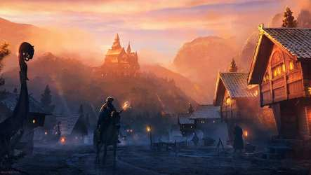 HD wallpaper: digital art artwork medieval village fantasy city fantasy art Wallpaper Flare