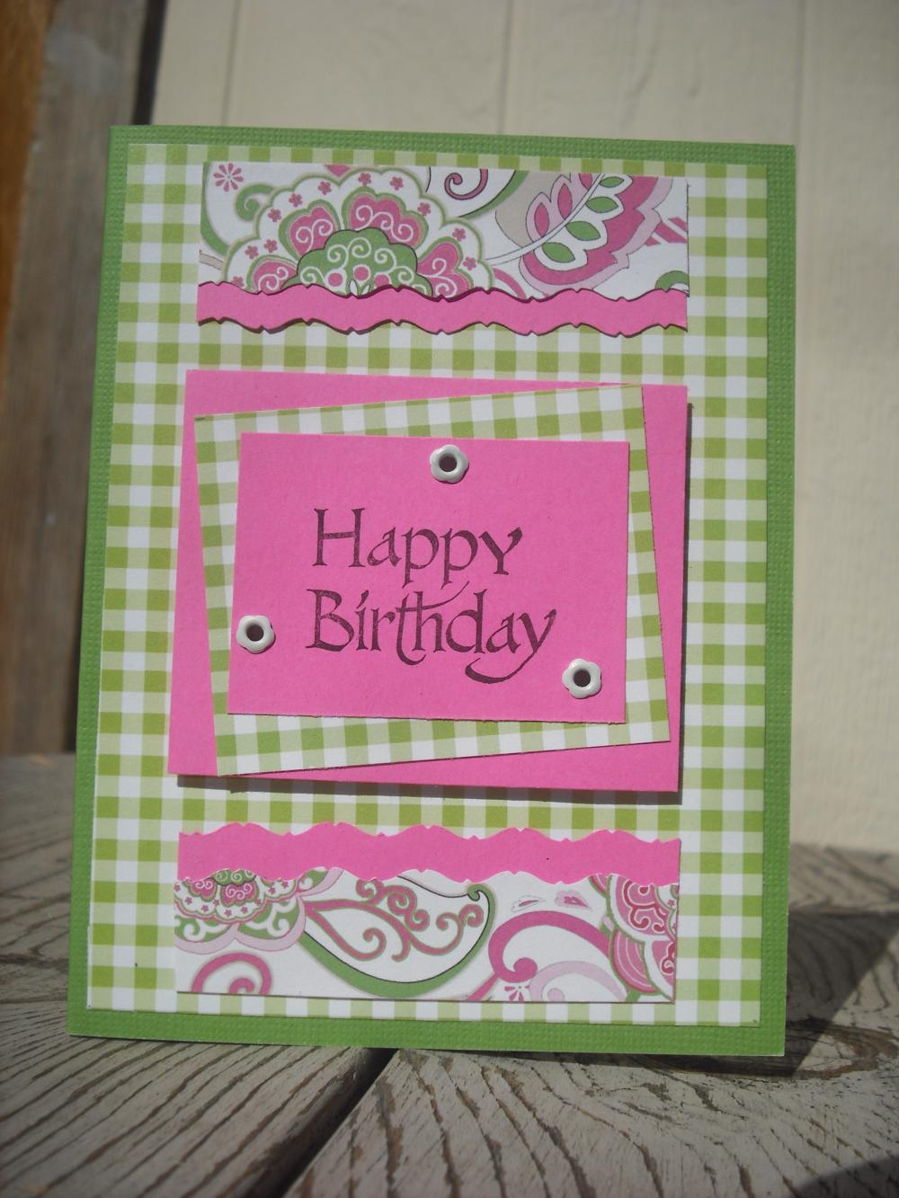 SALE Handmade Pink & Green Happy Birthday Greeting Card On