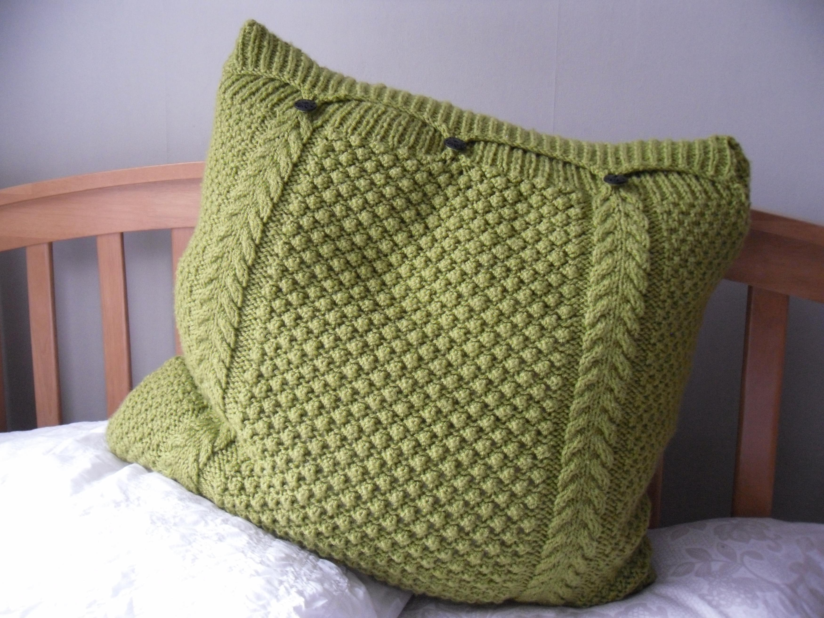 Large Lime Green Pillow  Cushion Cover Hand Knitted Cable