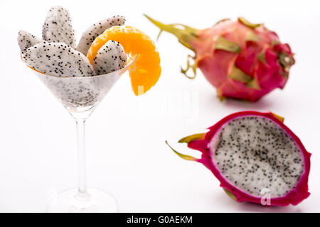 Fruit flesh of the Pitahaya blanca in a glass - Stock Photo