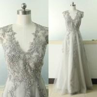 Gray A-line Lace Applique Wedding Dress V-neck Bridal ...