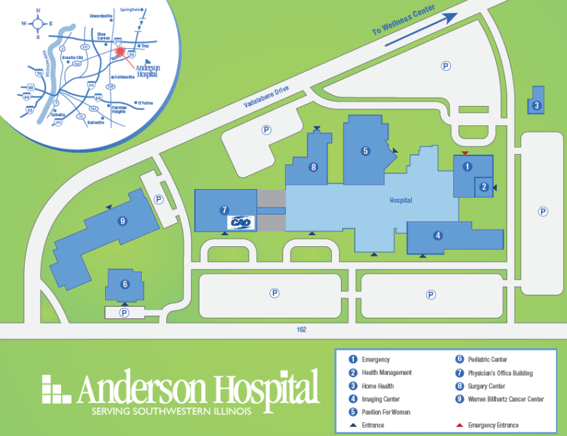 Map of Anderson Hospital and The Center for Advanced Orthopedics.