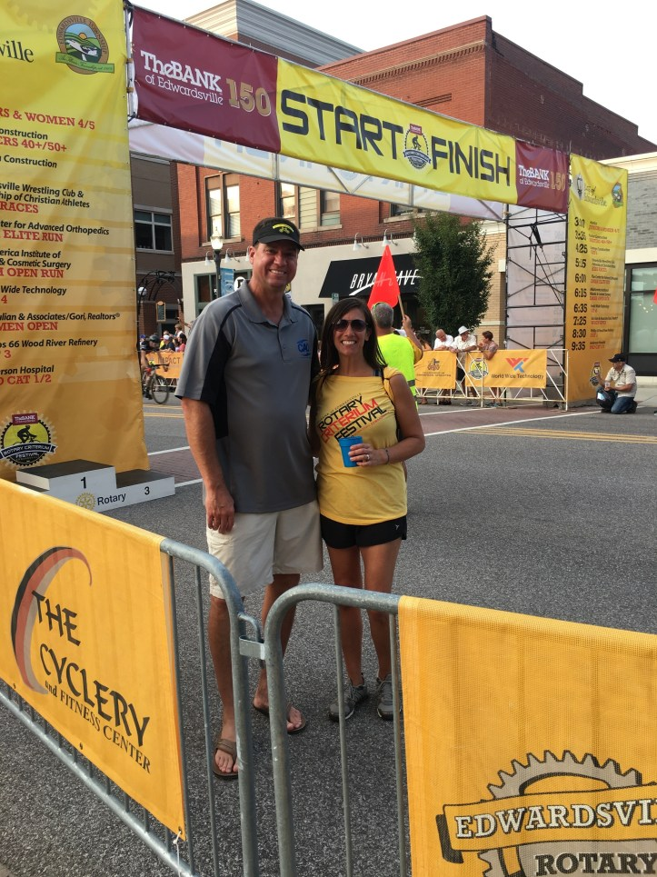 Dr. Grebing and his wife, Gina, who participated in the Edwardsville Rotary Criterium's Downtown Dash race.