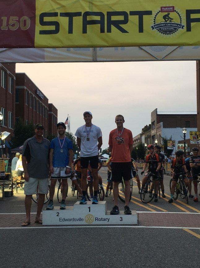 Edwardsville Rotary Criterium's Downtown Dash medalists with Dr. Grebing.
