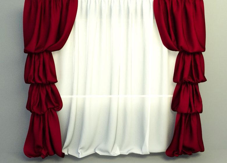 elegant red white curtain 3d model