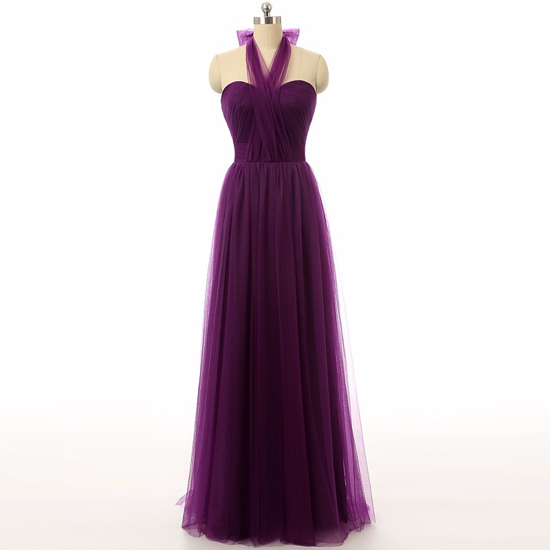 Elegant Purple Bridesmaid Dresses, Plus Size Long