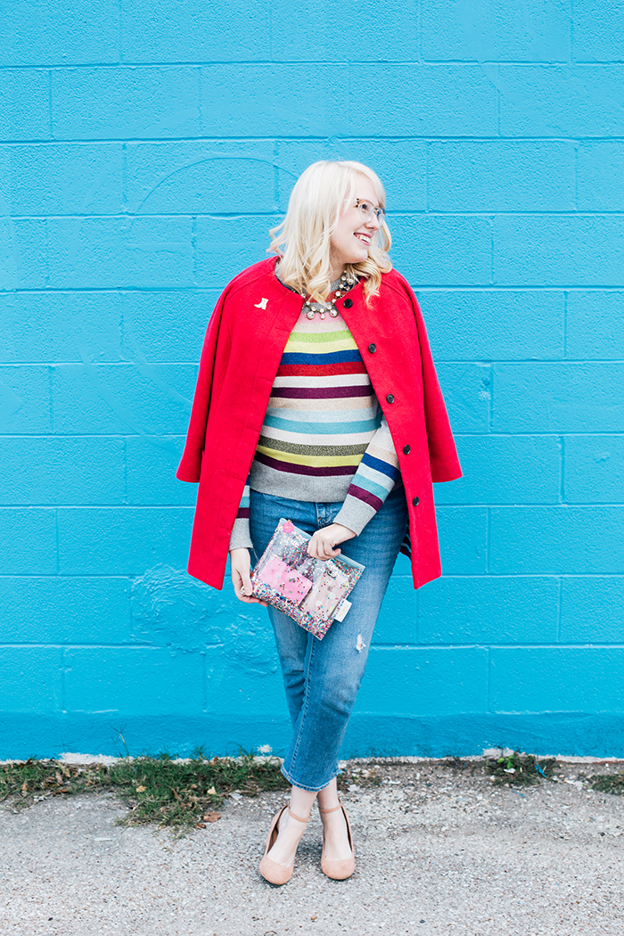 writes like a girl pink coat rainbow gap sweater13