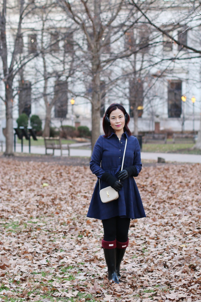 plaid-dress-hunter-boots-saint-laurent-bag-earmuffs-gloves-3