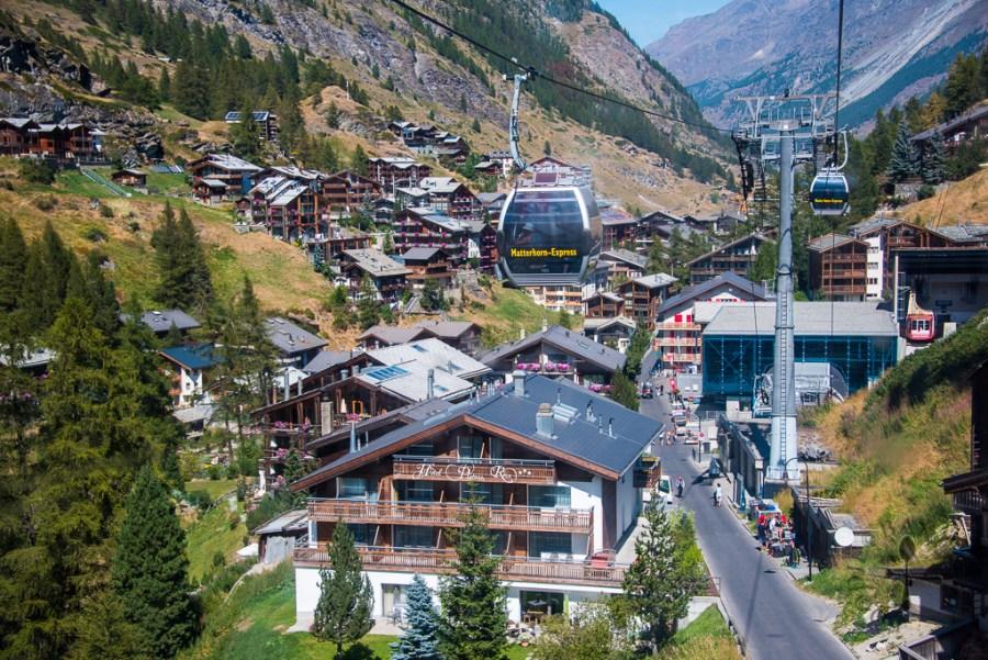 Approaching Zermatt town in Matterhorn Express