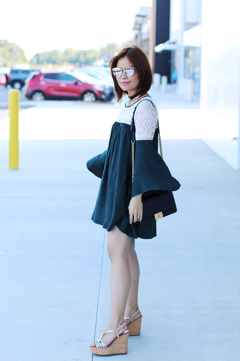 green-bell-sleeves-dress-chanel-boy-bag-1
