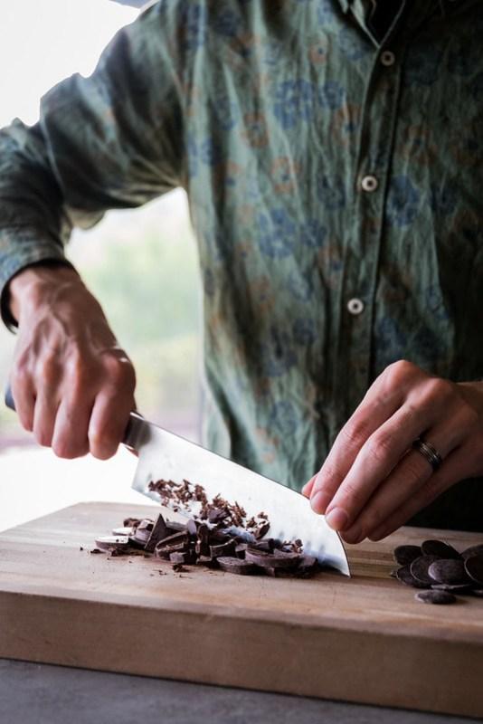 first you chop the dark chocolate