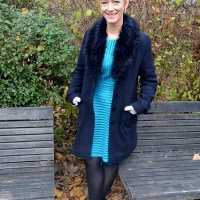 Outfit of the week: dark blue and fake fur